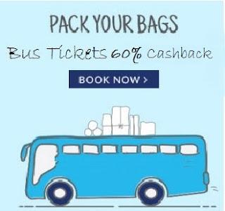 PayTm Bus Ticket Booking upto 60% Cashback