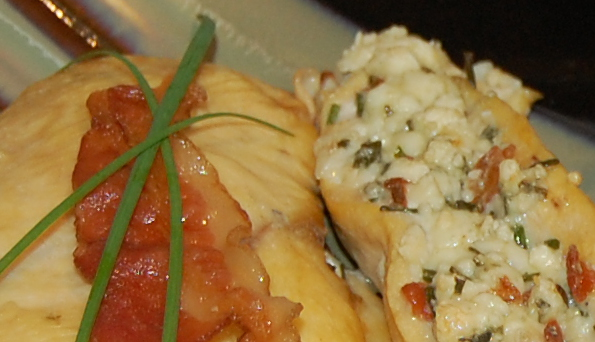 Stuffed Chicken with Bacon, Gorgonzola Cheese, and fresh Garlic Chives ...