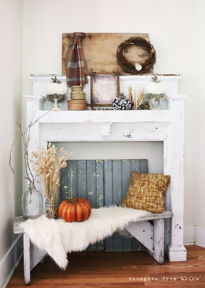 Rustic fall mantel vignette a free printable for Rustic mantle decor