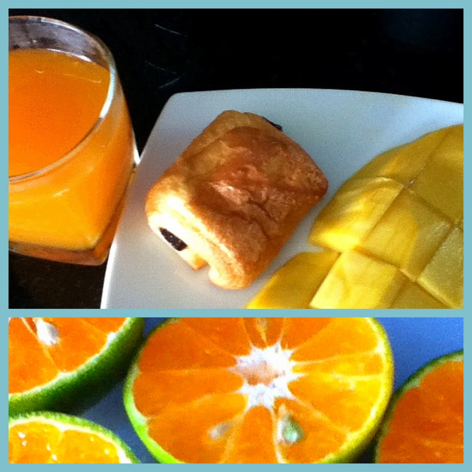 freshly squeezed orange juice, chocolate croissant and half of a mango