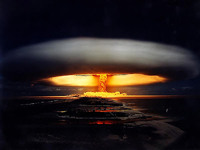 Digitally enhanced picture of Tsar Bomba explosion and mushroom cloud nuclear weapon