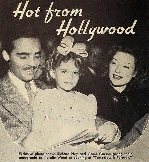 En el estreno de Tomorrow is Forever, junto a Greer Garson y Richard Ney