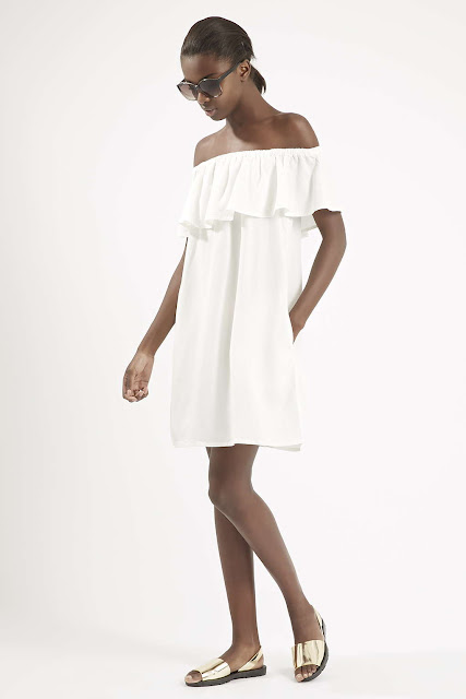 white frill top dress, white tencel dress, white bardot dress,