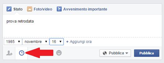 pubblicare post facebook nel passato