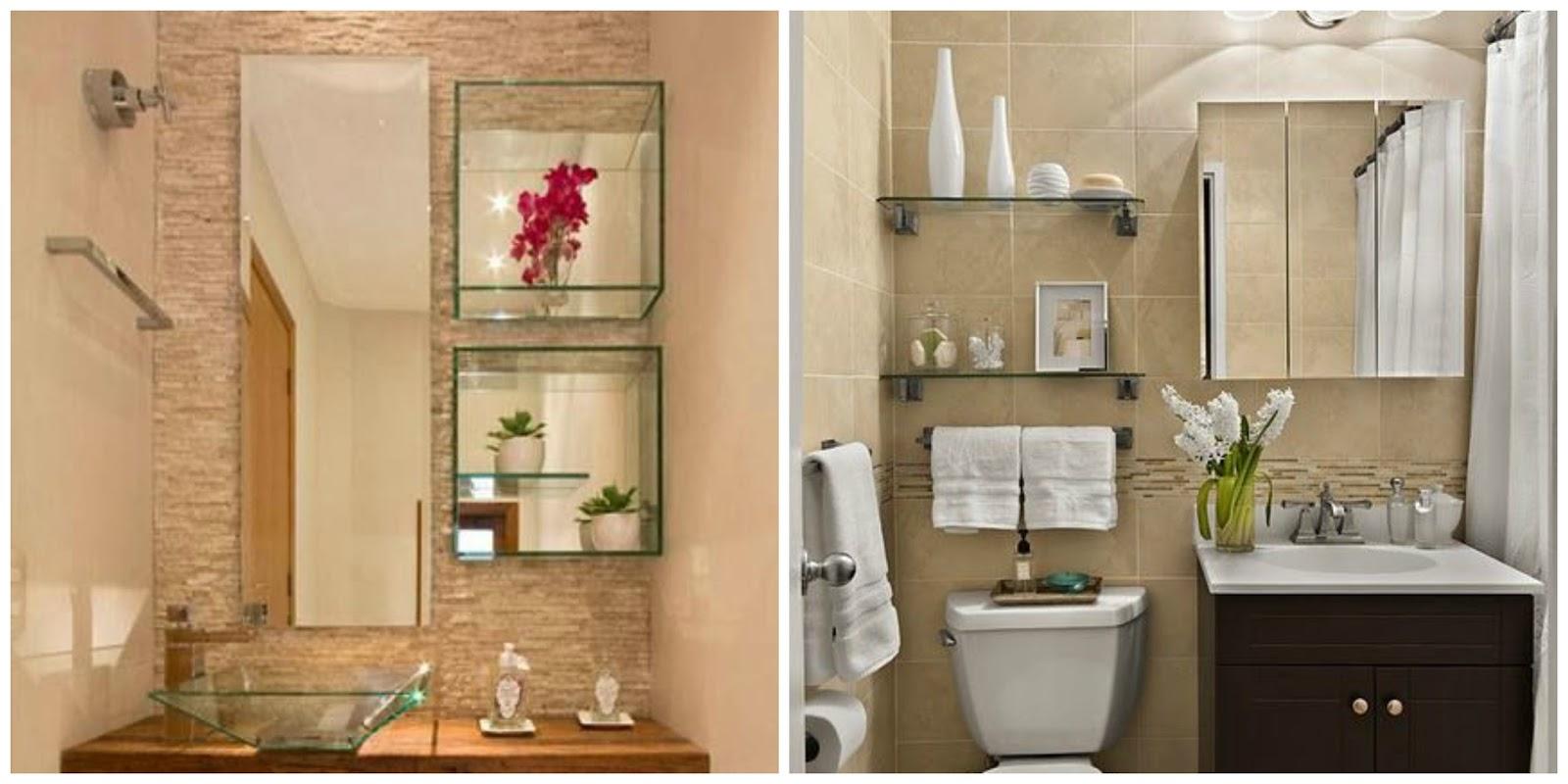 Meu apê Decoração banheiro pequeno -> Banheiro Decorado Com Prateleiras De Vidro