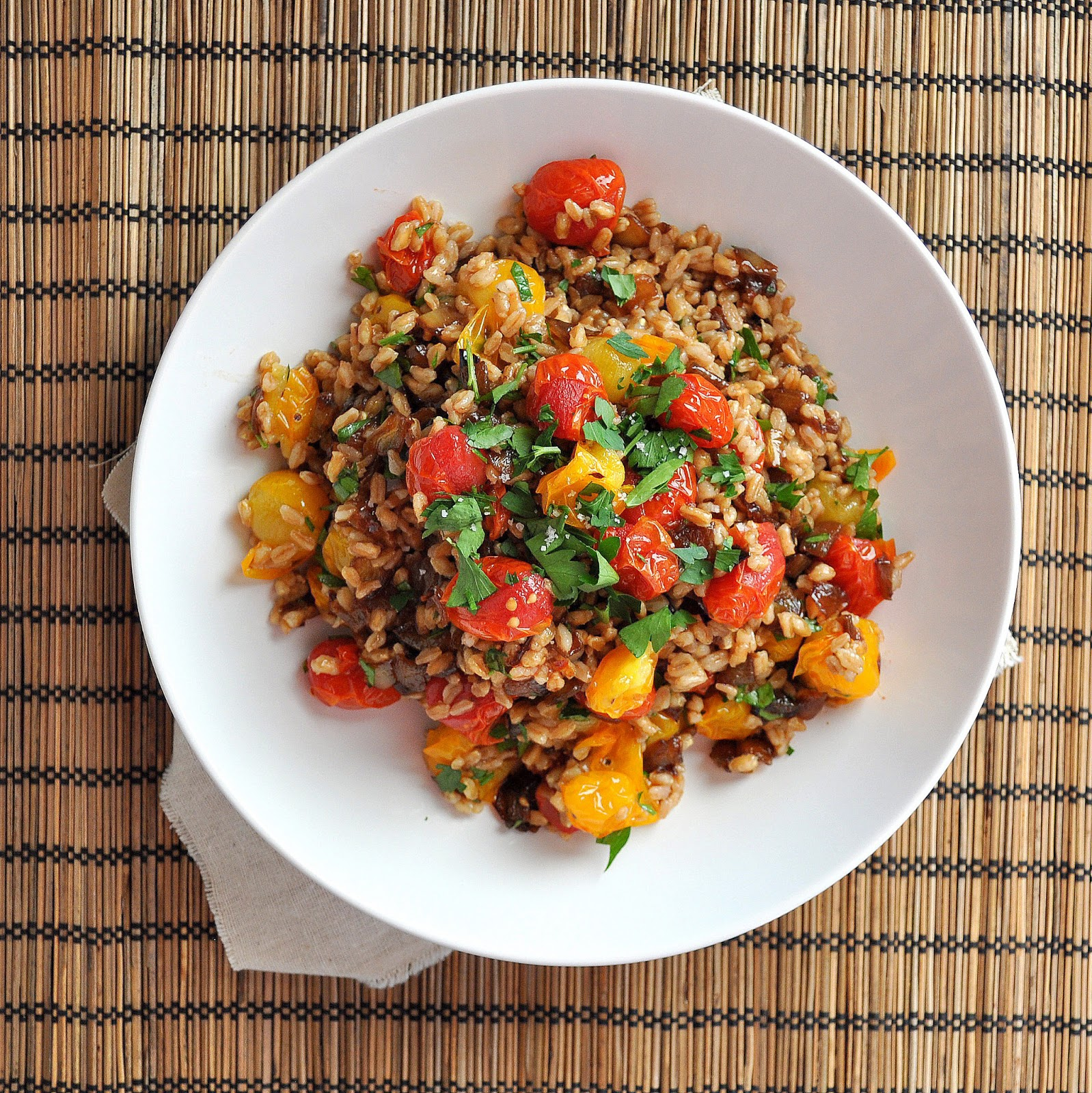 ... : Roasted Tomato and Caramelized Onion Farro Salad with Brown Butter