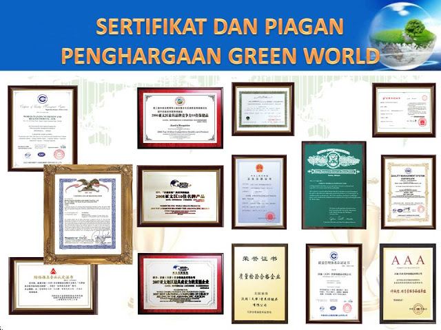 Sertifikat dan penghargaan Produk Green World