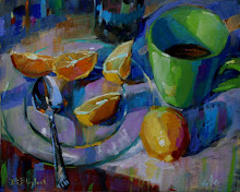 GREEN MUG WITH LEMONS AND SPOON by ELIZABETH BLAYLOCK