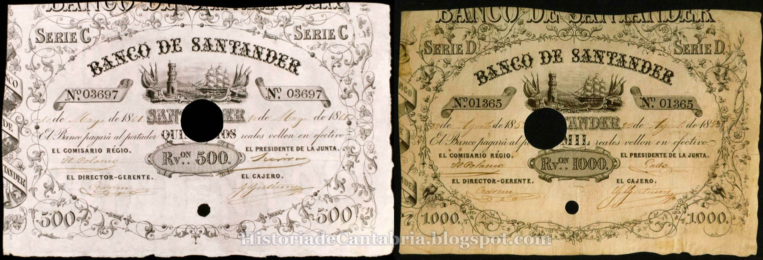 500 y 1000 reales Banco Santander 1857