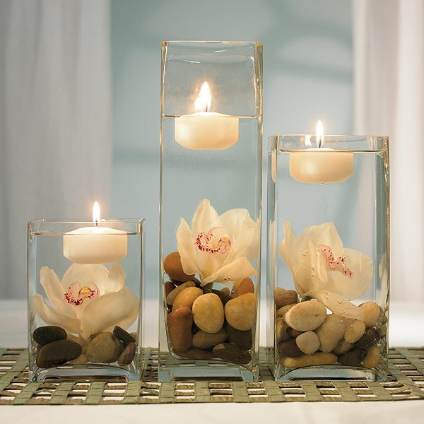 Cheap centerpieces romantic decoration for Inexpensive wedding decorations