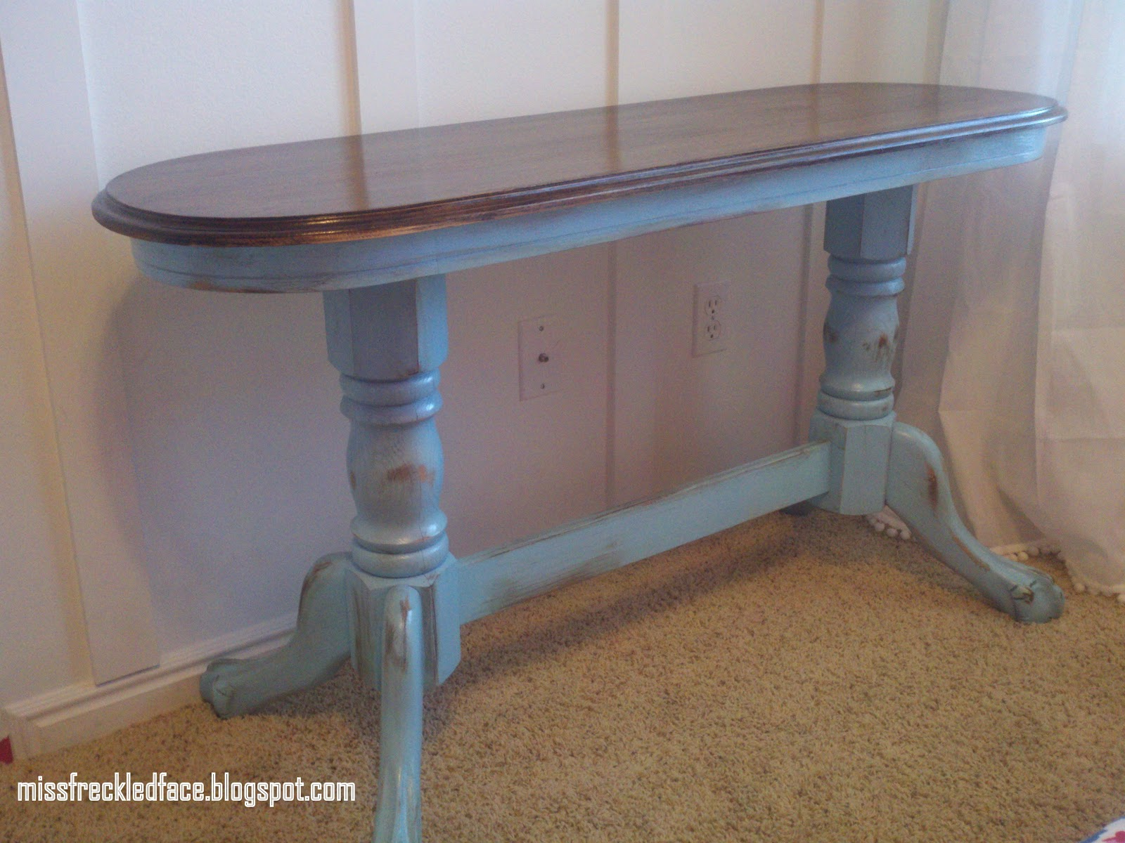Miss freckled face distressed aqua blue sofa table 65 sold for 65 sofa table