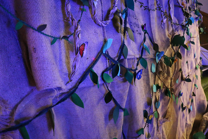 Coffee sack walls, with vines and butterflies
