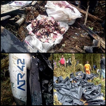 Foto Jenazah Korban dan Sebagian Uang Rp 6,5 M yang Terbakar di Insiden Hancurnya Trigana Air