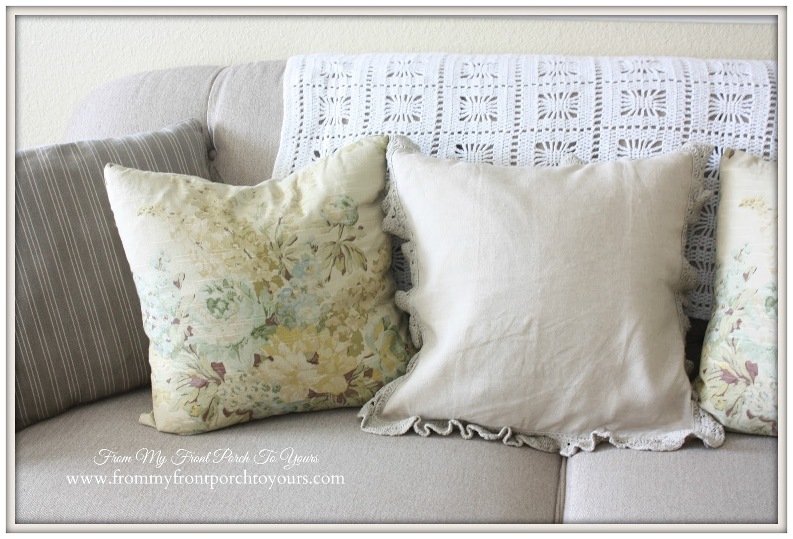 French Laundry vintage like floral pillows along with a pillow made from a napkin.- From My Front Porch To Yours