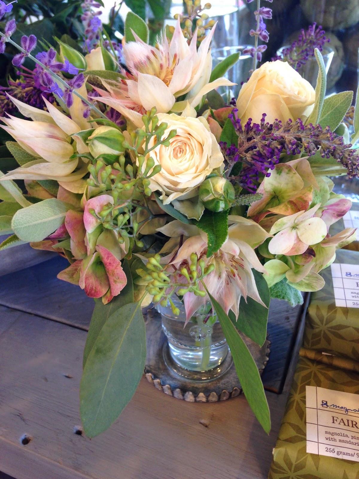 les fleurs : andover florist, floral shop, garden floral store : fairfax & king soap : petit floral arrangements : hand blown bud vases