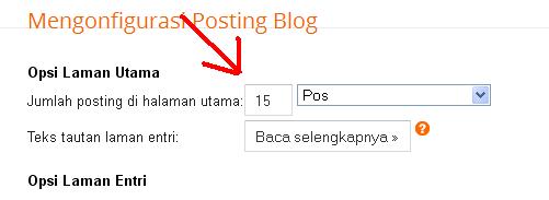Konfigurasi jumlah posting blog