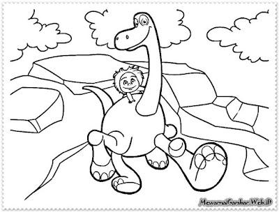 lembar mewarnai gambar the good dinosaur