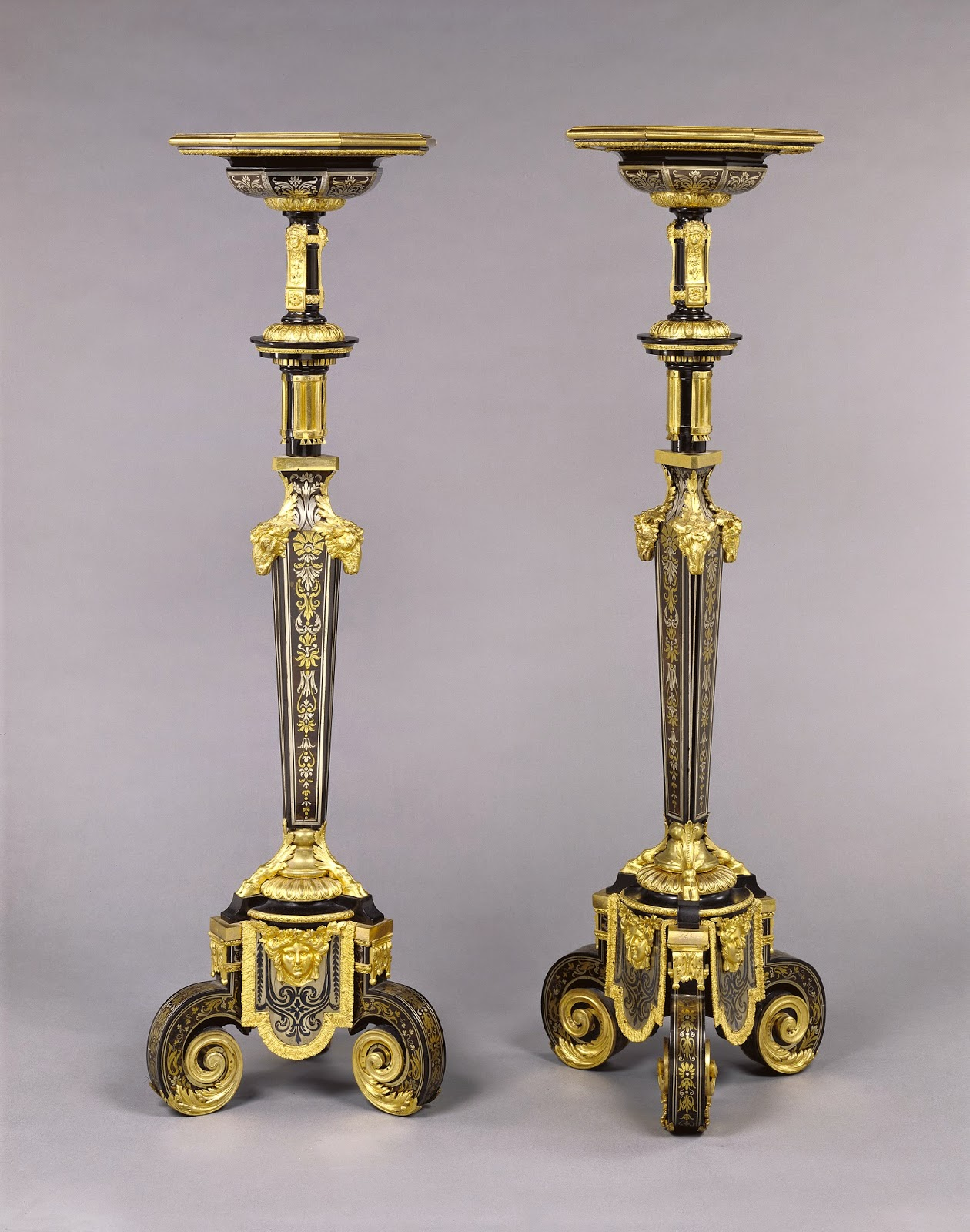 Pair of Gueridons, Attributed to André-Charles Boulle, about 1680, Oak veneered with ebony, tortoise shell, blue painted horn, brass, and pewter, and set with gilt bronze mounts