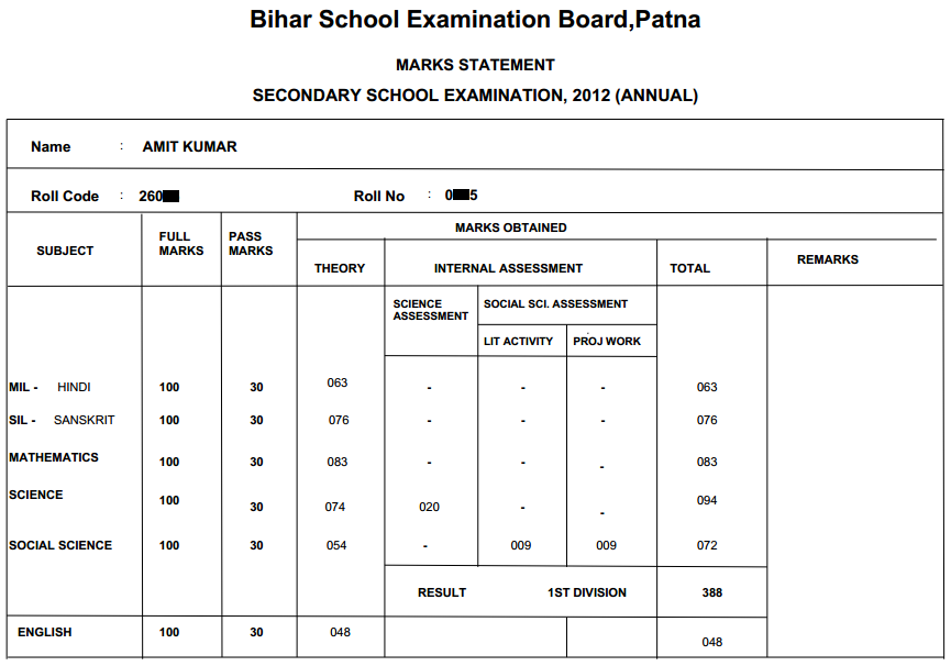 bihar board 2012 matric result marks sheet