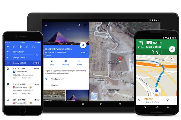 Google Maps su smartphone e tablet con il nuovo Material design