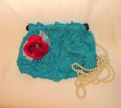 Handmade Bright Turquoise Color Sequin Ruffled Clutch Purse, Embellished with Handmade Flower, For Special Occasions Party Prom