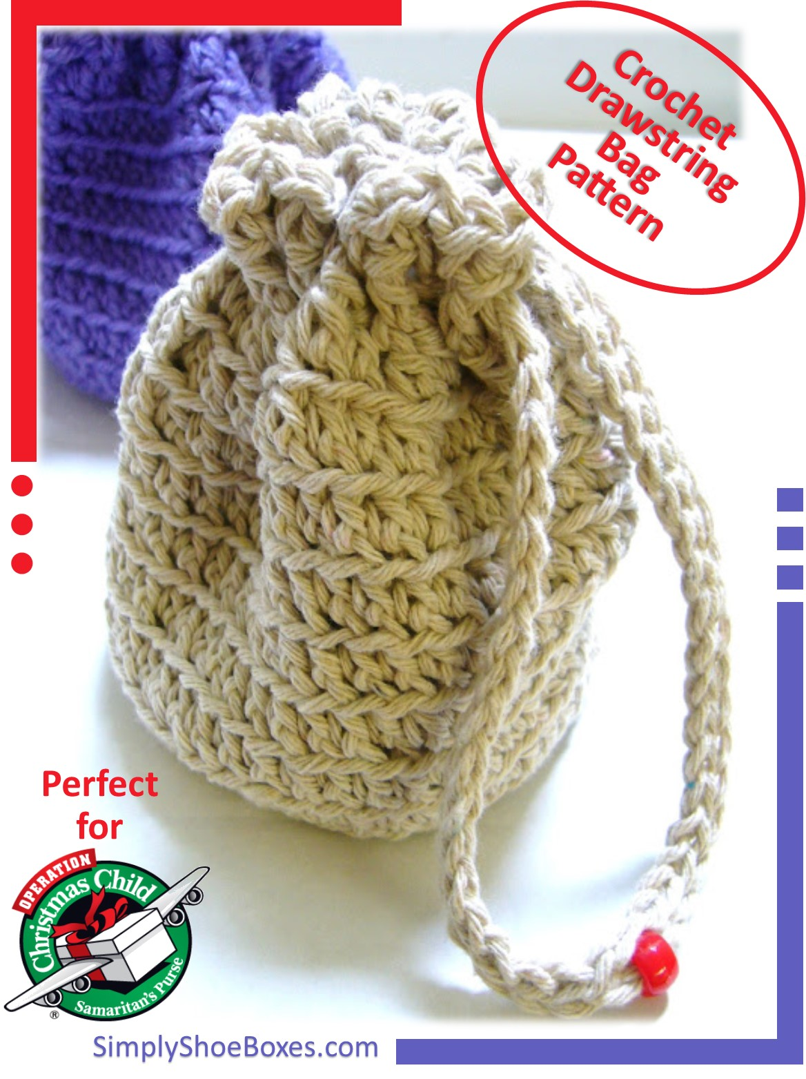 Free Crochet Patterns For Christmas Gift Bags : Simply Shoe Boxes: Simple Crocheted Stand-up, Drawstring ...