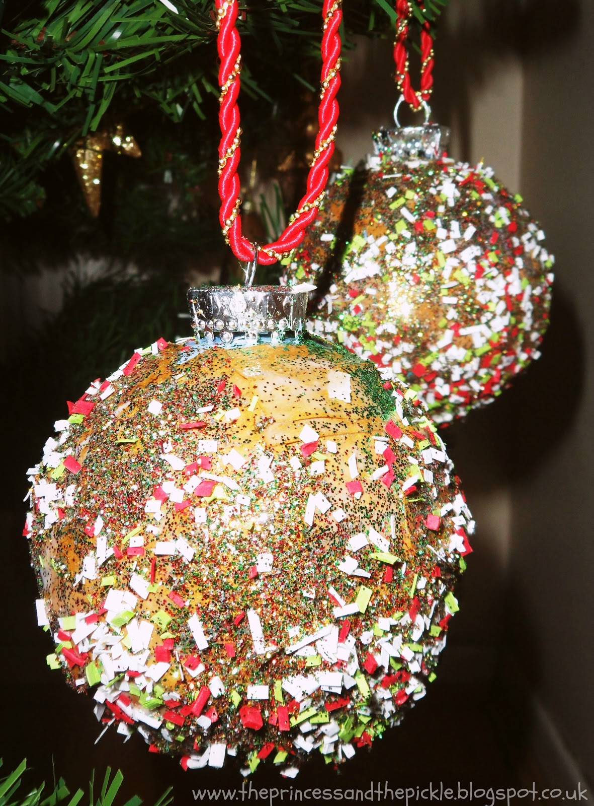 The princess and the pickle upcycled baubles fun for Christmas crafts for young children