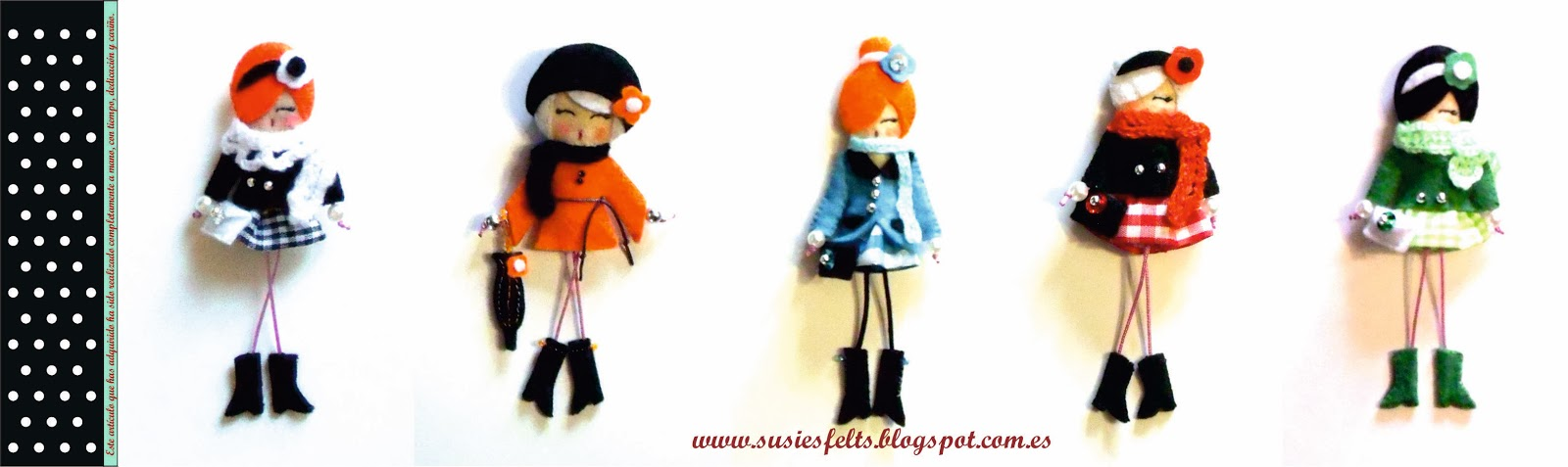 Susies, broches, fieltro, bufandas, muñecas, handmade