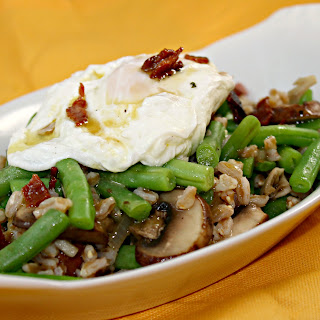 Mushroom, Green Bean, and Farro Salad with a Poached Egg and Warm ...