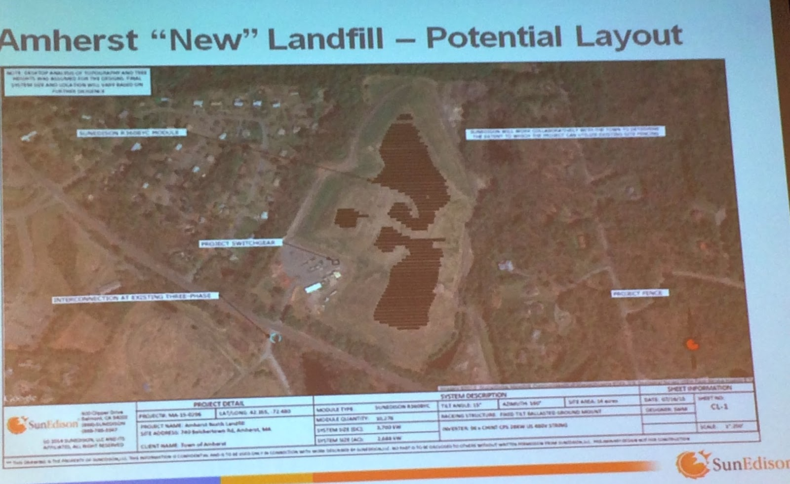 "the controversies over proposed construction of solar array on closed landfill in amherst Town of amherst and sec amherst solar one net metering"" the solar array will be at a closed landfill on how many other solar projects are proposed."