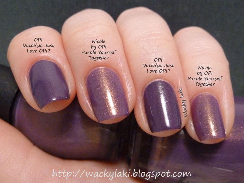 Wacky Laki: Comparison: Nicole by OPI Purple Yourself Together vs ...