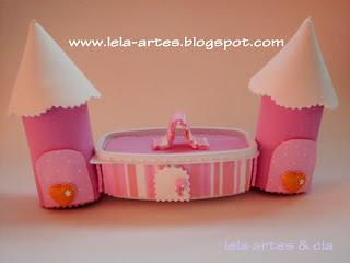 reciclagem com pote de margarina e EVA castelinho princesas