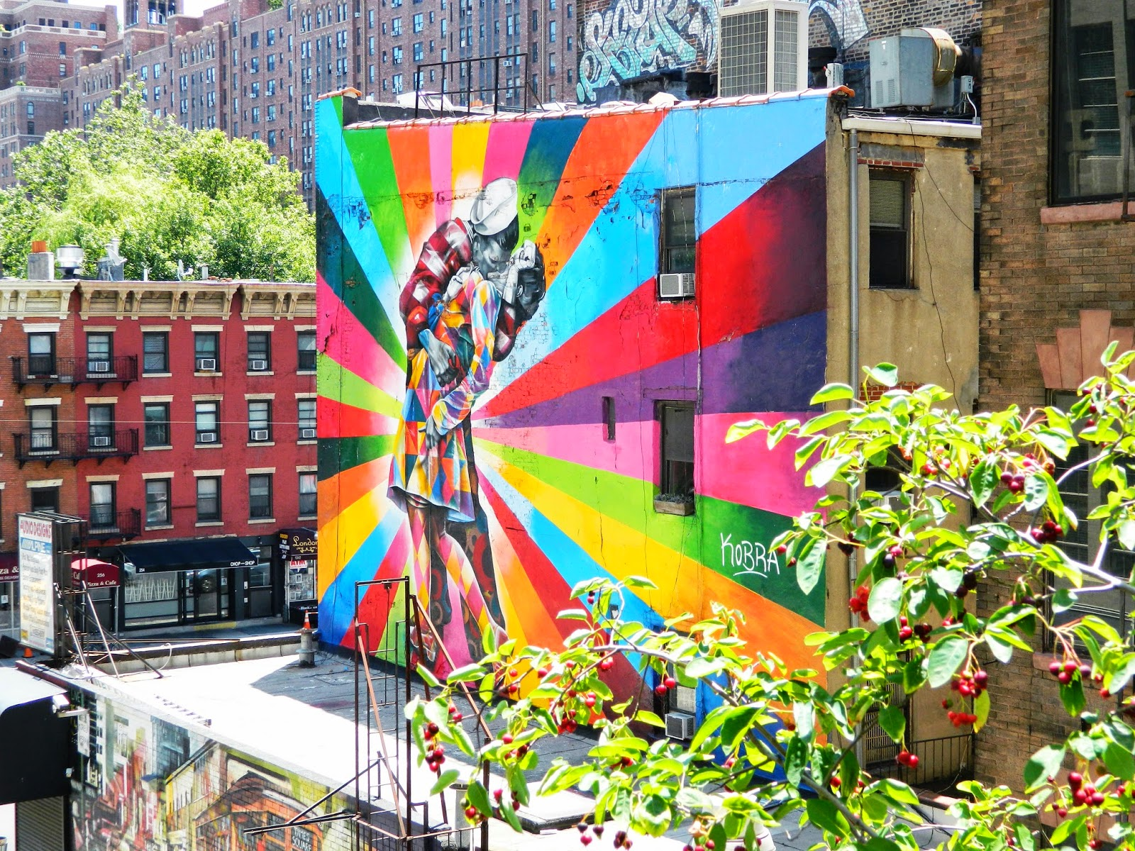 new york city high line graffiti pretty colourful sailor kissing kobba