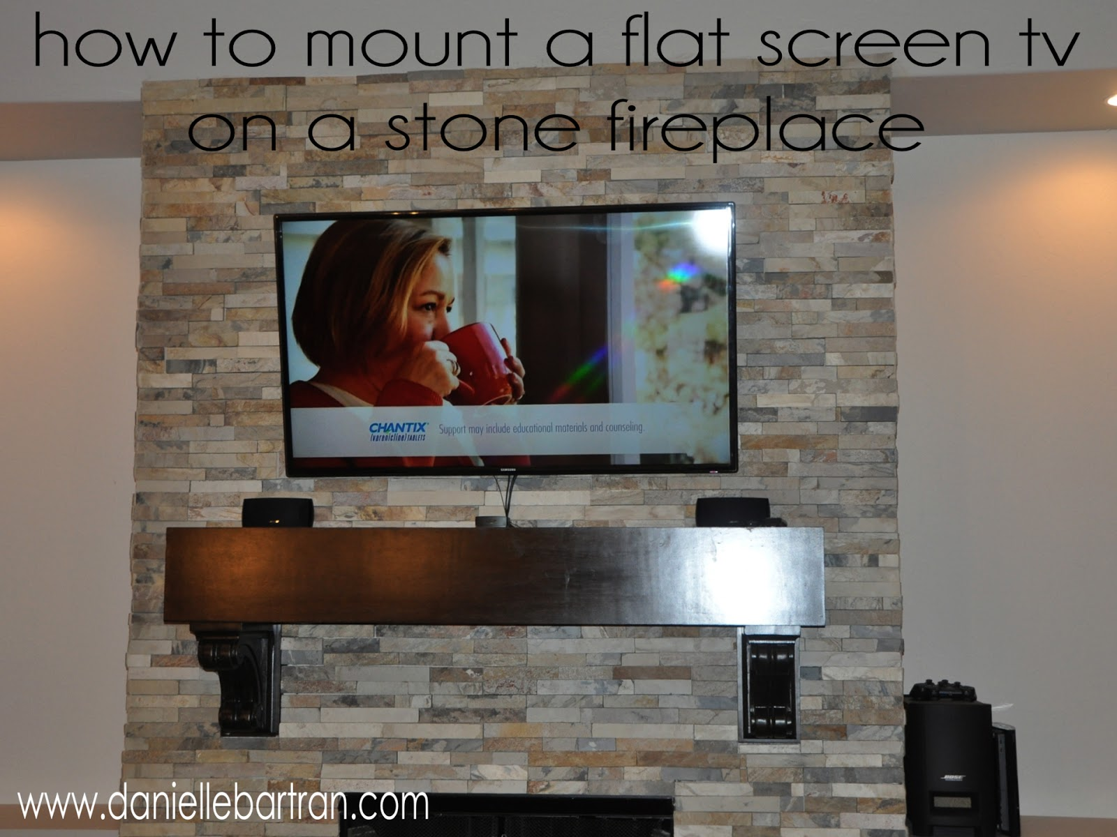made how to mount a flat screen tv on a stone fireplace diy. Black Bedroom Furniture Sets. Home Design Ideas