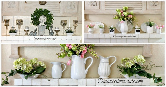 3 Spring Mantel Ideas: Easy to make Hydrangea Arrangements at One More Time Events.oom