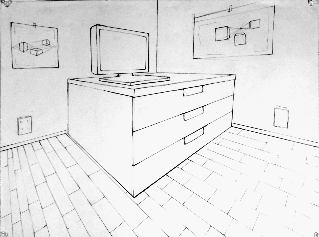 One point perspective living room drawing - Intro To Drawing 2013