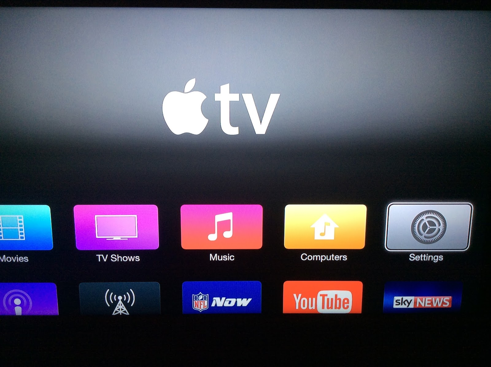UK Apple TV home screen.