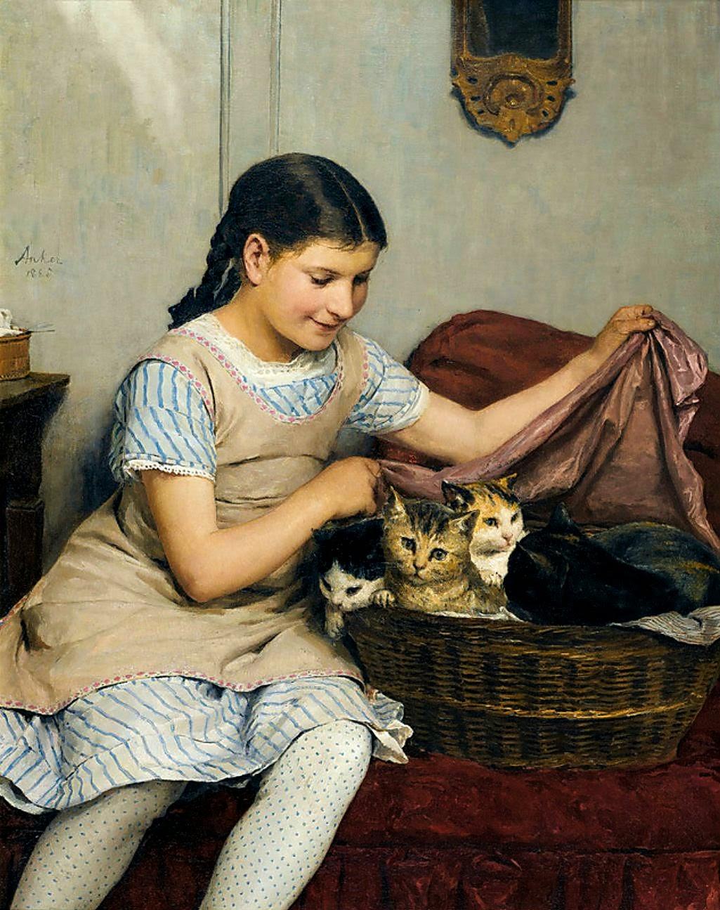 albert anker,kittens,painting review