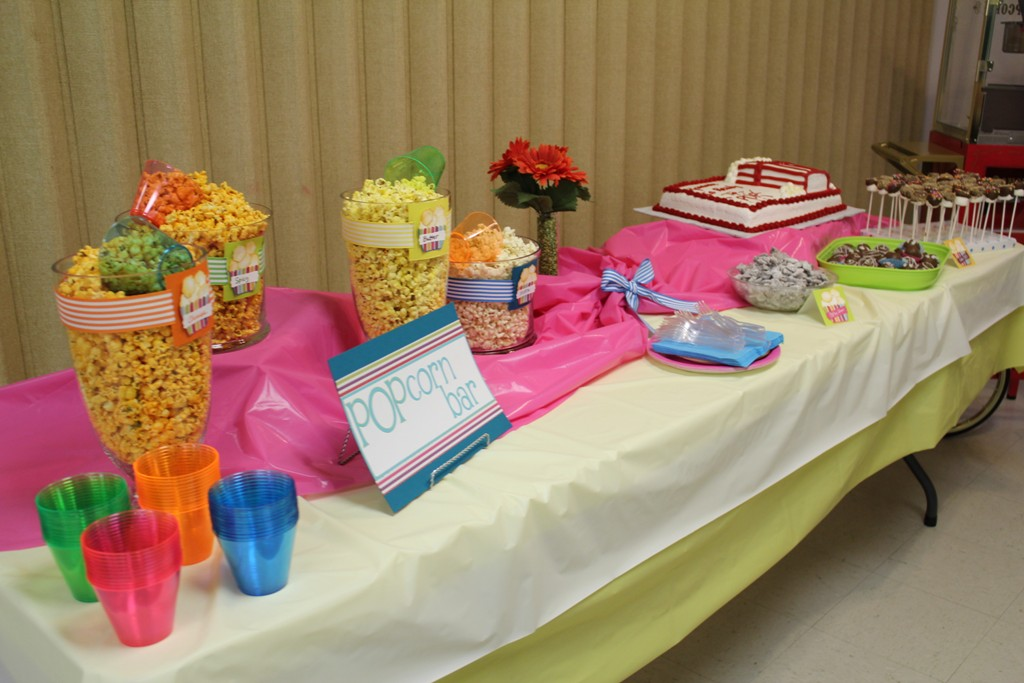 We Had A Popcorn Bar With 4 Different Popcorn Flavors, Poppy Chow  (chocolate And Peanut Butter Chex), Cake Balls And Marshmellow Pops  (deliciously Homemade ...