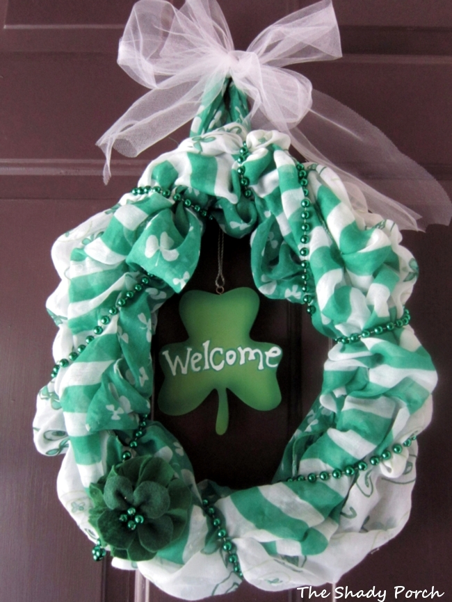 St. Paddy's Wreath #scarves #crafts #wreath #DIY #door decoration
