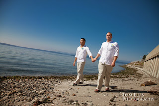 Ian and Jeff walk hand in hand on Alki Beach - Ceremony officiated by Patricia Stimac, Seattle Elope