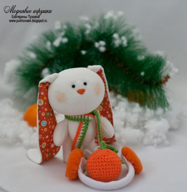 подарок на новый год, мягкая игрушка зайчик