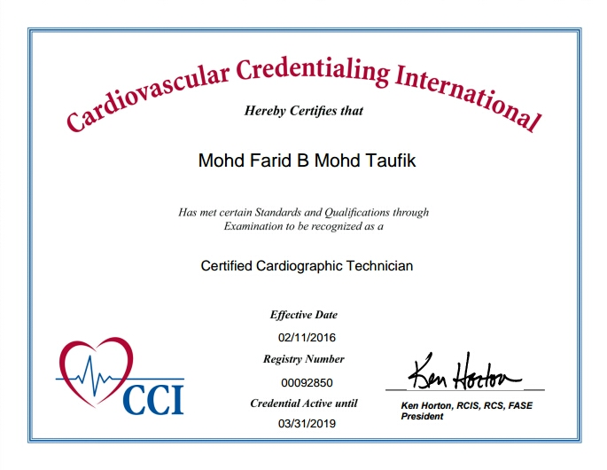 Certified Cardiographic Technician (CCT)