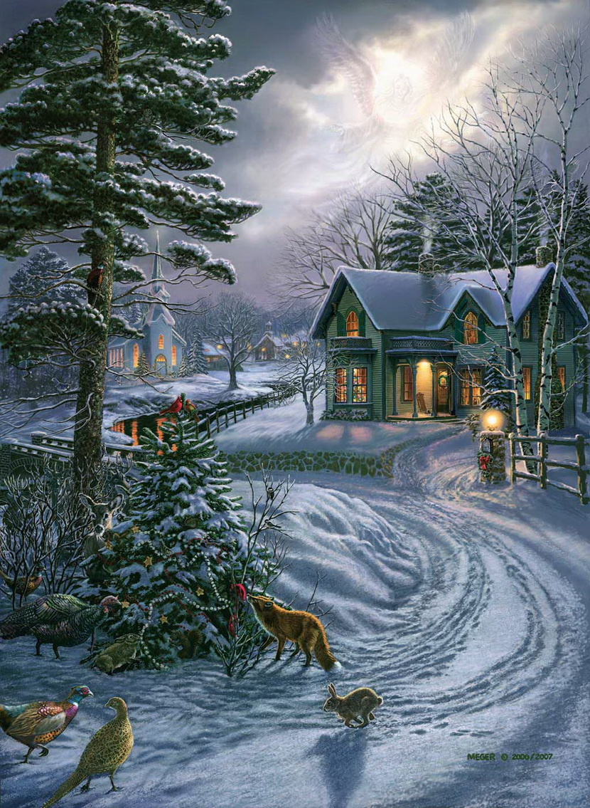 James meger Christmas card scenes to paint