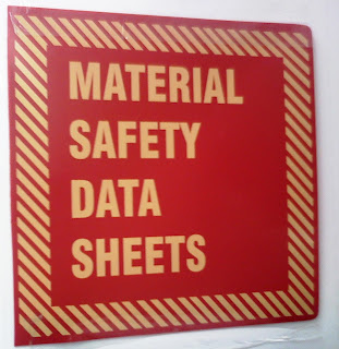sign that says material safety data sheets in red and yellow