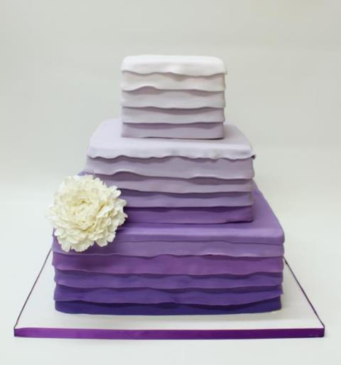 Gorgeous Square Purple Ombre Wedding Cake Set Over Three Tiers Created By Lulu Boutique