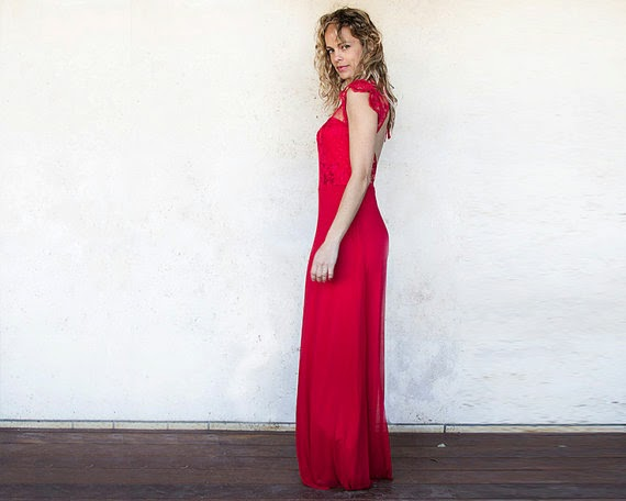 Etsy Open Back Dress: Affordable Wedding Dresses - Red