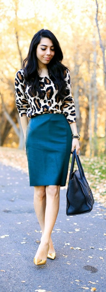 Leopard Cardi with Green Paneled Skirt with Gold Pumps | Spring Street Outfits