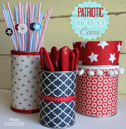 DIY Upcycled Patriotic Tin Cans