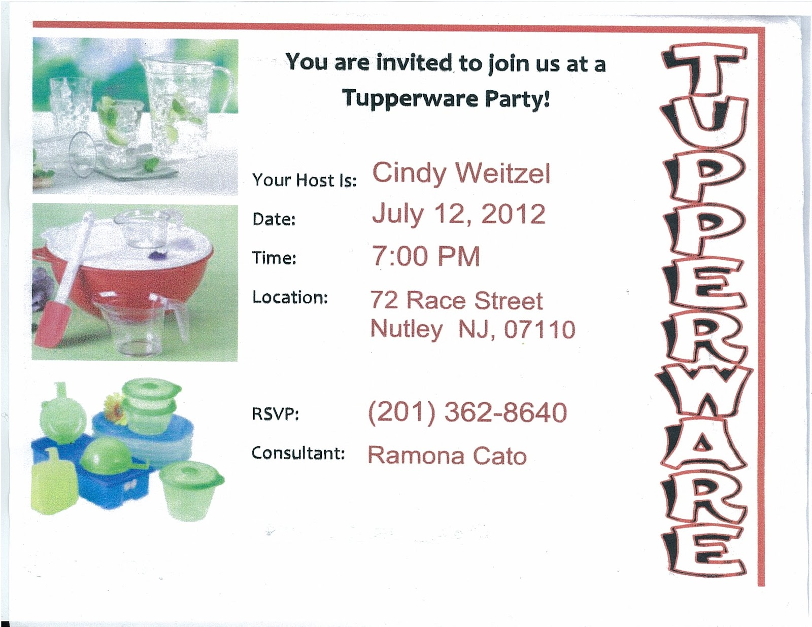 TUPPERWARE PARTY INVITATION WORDING